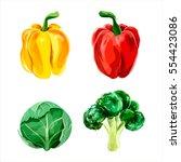 set of vector watercolor... | Shutterstock .eps vector #554423086