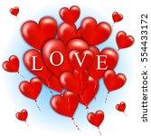 flying bunch of red balloon... | Shutterstock .eps vector #554433172