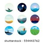 vector set of abstract... | Shutterstock .eps vector #554443762