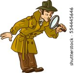 spy searching with magnify...   Shutterstock .eps vector #554445646