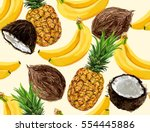 Stock vector  beautiful hand drawn pattern with bananas coconuts pineapples seamless vector floral pattern 554445886