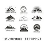 set of logo  icon montains in... | Shutterstock .eps vector #554454475