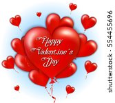 flying bunch of red balloon... | Shutterstock .eps vector #554455696