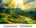 water on field terraced of mu... | Shutterstock . vector #554460046