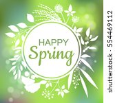 happy spring green card design... | Shutterstock .eps vector #554469112