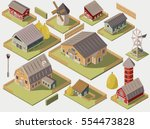 set of isometric farms with... | Shutterstock .eps vector #554473828
