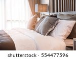 bed maid up with clean white... | Shutterstock . vector #554477596