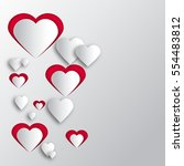 background paper hearts with... | Shutterstock . vector #554483812