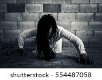 ghost woman in haunted house | Shutterstock . vector #554487058