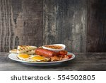 traditional full english... | Shutterstock . vector #554502805