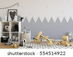 mock up wall in child room... | Shutterstock . vector #554514922