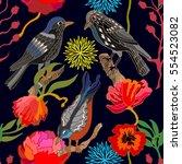 japanese garden. seamless... | Shutterstock .eps vector #554523082