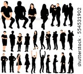 vector  big set of silhouettes... | Shutterstock .eps vector #554531902
