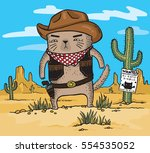 cartoon drawing of a cowboy cat ... | Shutterstock .eps vector #554535052