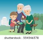 grandson boy teach grandparents ... | Shutterstock .eps vector #554546578