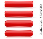 red glass buttons. rectangle... | Shutterstock .eps vector #554553406