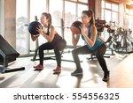 attractive young women... | Shutterstock . vector #554556325