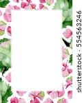 pink watercolor hydrangea... | Shutterstock . vector #554563246