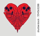 dead love skull and skeleton...   Shutterstock .eps vector #554563288
