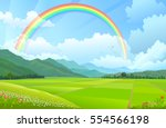 rainbow over the mountains ... | Shutterstock .eps vector #554566198