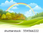 rainbow over a beautiful forest ... | Shutterstock .eps vector #554566222
