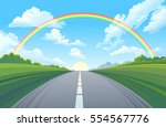rainbow over the highway  the... | Shutterstock .eps vector #554567776