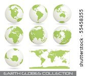 collection of earth globes end a map isolated on white, vector illustration