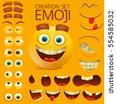 Yellow smiley face character for your scenes template. Emotion big set. Vector illustration | Shutterstock vector #554585032