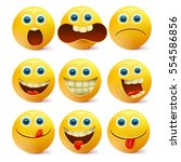 yellow smiley faces. emoji... | Shutterstock .eps vector #554586856