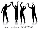 reaching man silhouettes | Shutterstock .eps vector #55459363