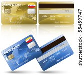 vector credit cards  front and... | Shutterstock .eps vector #55459747