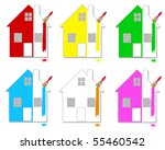 set of multicoloured houses on... | Shutterstock .eps vector #55460542