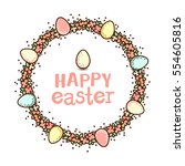 easter circle frame. flower...   Shutterstock .eps vector #554605816