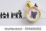 "Small photo of ""Brain storm"" words on pocket watch with workers doodles carry on cog and read plan to fix it on white background - business, time and finance concept"