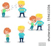 couple man and woman characters ... | Shutterstock .eps vector #554611336