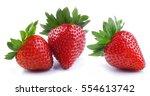 strawberries isolated on white... | Shutterstock . vector #554613742