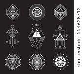 vector set of sacred geometry.... | Shutterstock .eps vector #554628712
