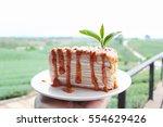 thai milk tea crepe cake with... | Shutterstock . vector #554629426