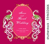 vintage invitation and wedding... | Shutterstock .eps vector #554632666