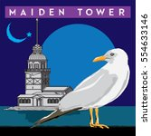 maiden tower  istanbul  bird ... | Shutterstock .eps vector #554633146