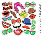 photo booth party set with... | Shutterstock .eps vector #554636248