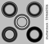 set wheel car tire black white... | Shutterstock .eps vector #554660506
