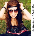 beautiful young hippie girl... | Shutterstock . vector #55466596