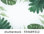 top view tropical palm leaves.... | Shutterstock . vector #554689312