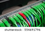 server rack with green and red... | Shutterstock . vector #554691796