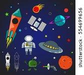 elements of space. vector image. | Shutterstock .eps vector #554699656