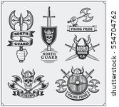 set of viking labels  badges... | Shutterstock .eps vector #554704762