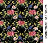 watercolor hand drawn seamless... | Shutterstock . vector #554706895