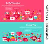 valentines day website banners. ... | Shutterstock .eps vector #554712292