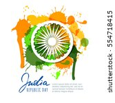 india republic day. india flag... | Shutterstock .eps vector #554718415
